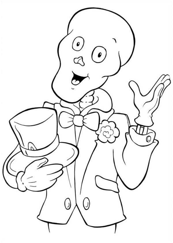 Halloween Day, : Bald Magician Skull on Halloween Day Coloring Page