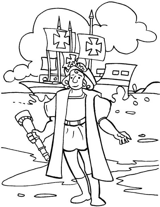 Columbus Day, : Columbus In Front Of Pinta On Columbus Day Coloring Page