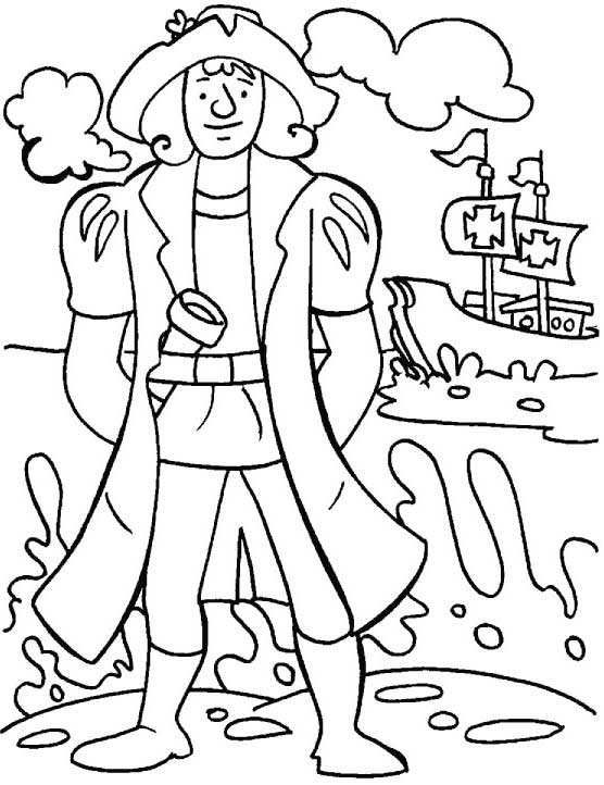 Columbus Day, : Columbus In Sea Shore On Columbus Day Coloring Page