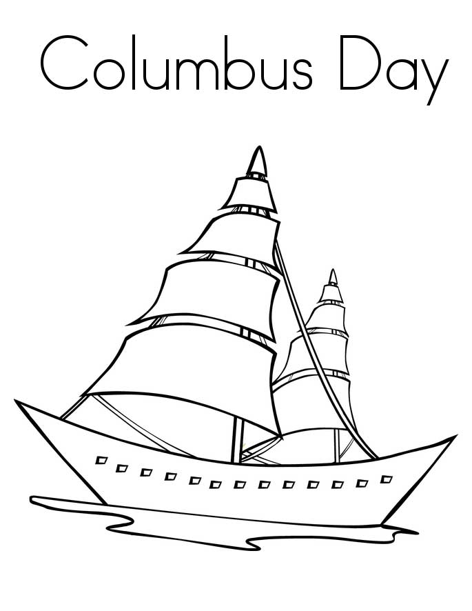 Columbus Day, : Happy Columbus Day Coloring Page