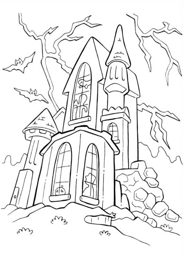 Halloween Day, : Haunted Spooky Castle on Halloween Day Coloring Page