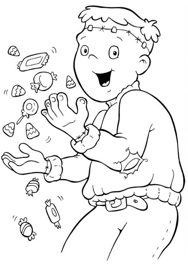 Halloween Day, : Joyful and Happy Mr Frankenstein on Halloween Day Coloring Page