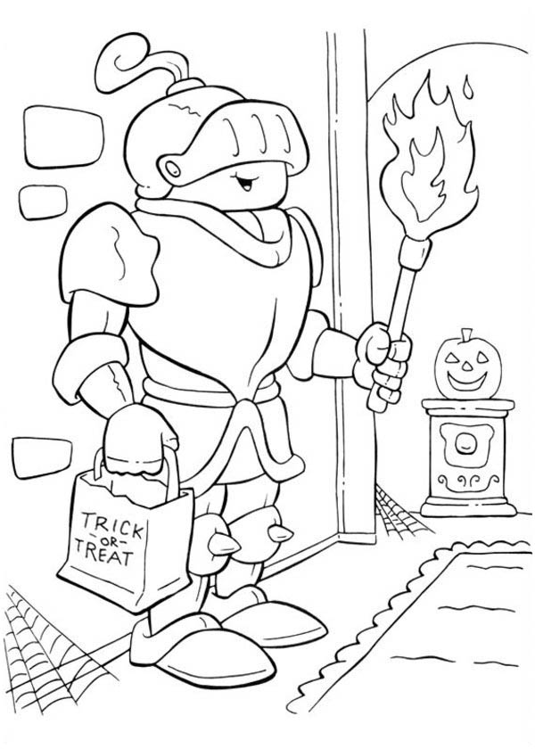 Halloween Day, : Shining Armored Knight on Halloween Day Coloring Page