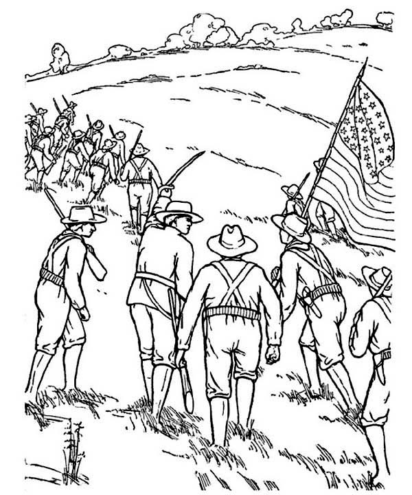 Veterans Day, : Celebrating Veterans Day with American Civil War Story Coloring Page