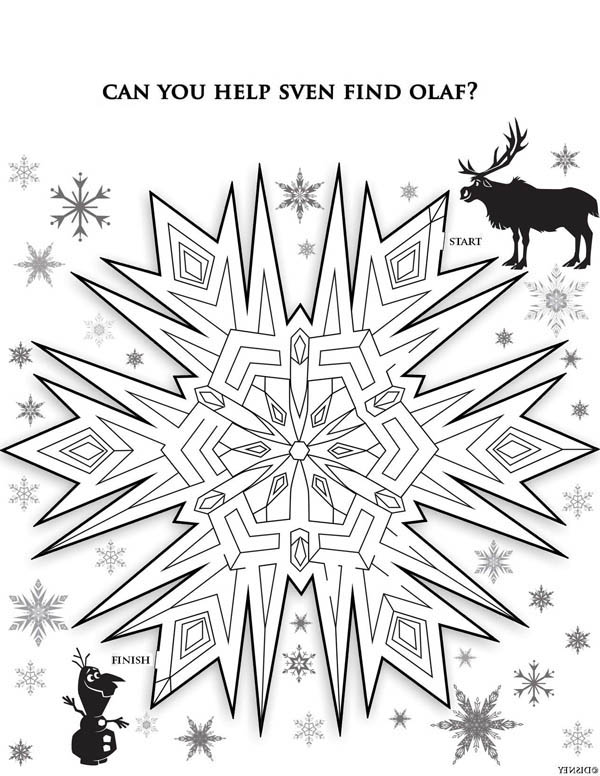 Christmas, : Christmas Snowflakes Maze Coloring Page