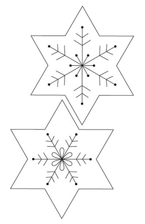 Christmas, : Christmas Snowflakes Picture Coloring Page