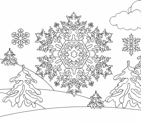 Christmas, : Christmas Snowflakes on Mountain Coloring Page
