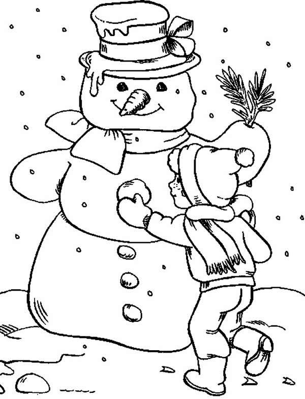 Christmas, : Creating Mr Snowman for Christmas Coloring Page