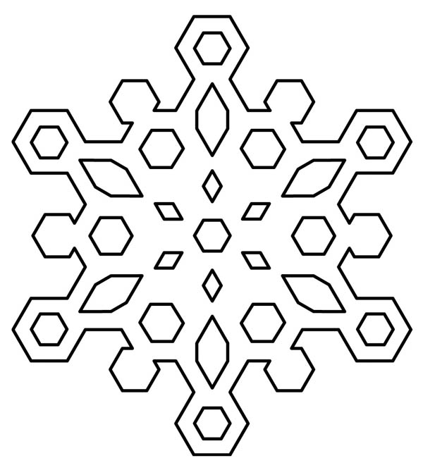 Christmas, : Diamond Christmas Snowflakes Coloring Page