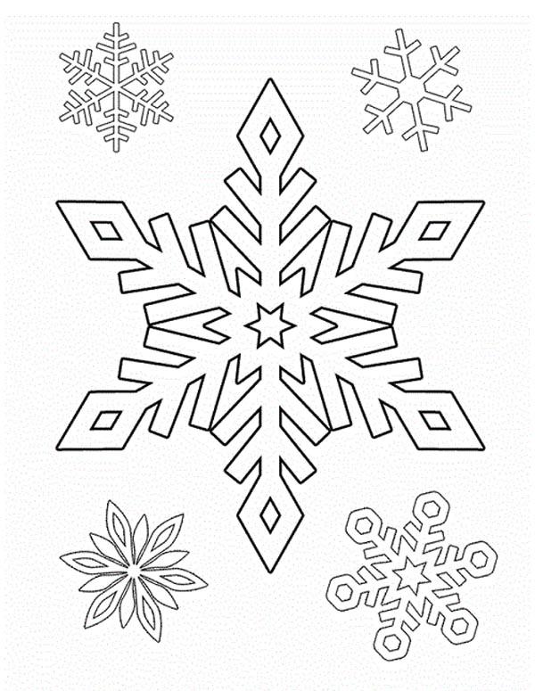 Christmas, : Drawing Christmas Snowflakes Coloring Page