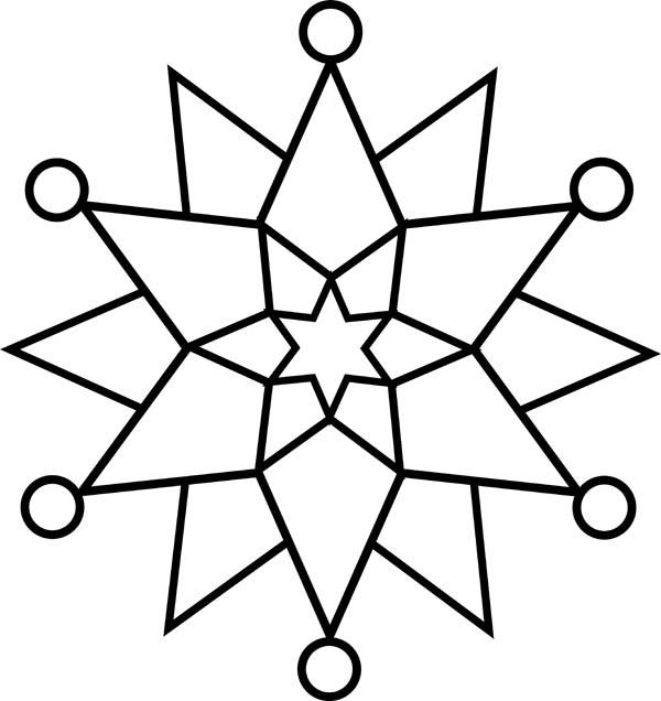 Christmas, : Elegant Christmas Snowflakes Coloring Page