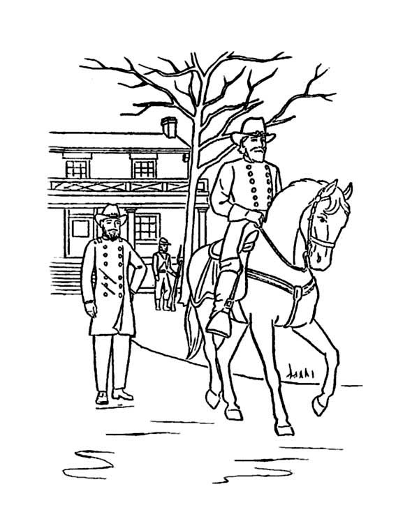 Veterans Day, : General Grant at Appomattox Celebrating Veterans Day Coloring Page