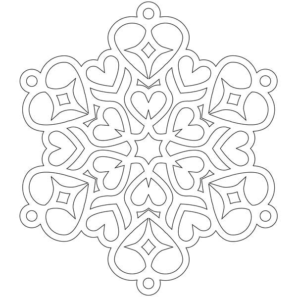 Christmas, : Heart Shaped Christmas Snowflakes Coloring Page