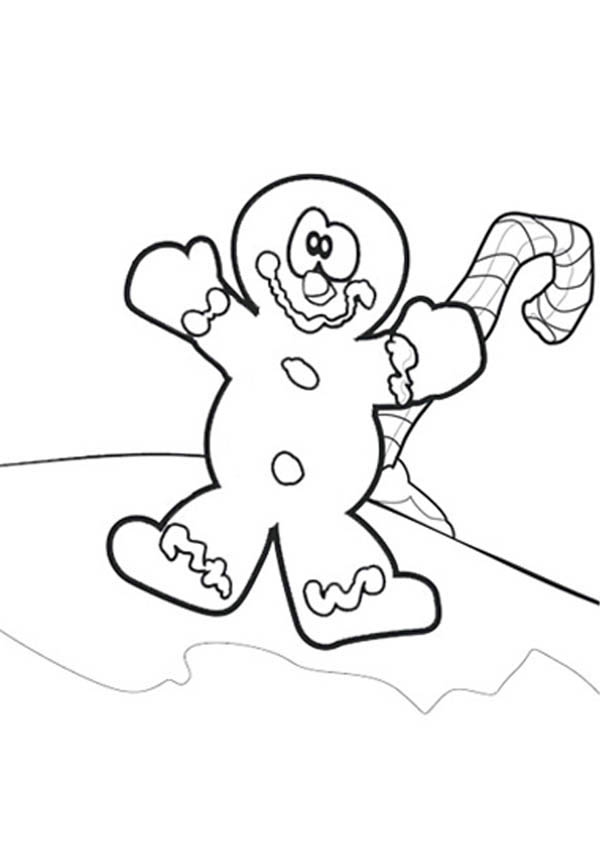 Christmas, : Mr Gingerbread Men Play with Candy Cane on Christmas Coloring Page
