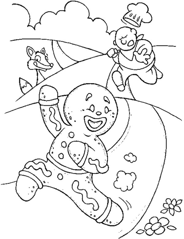 Christmas, : Mr Gingerbread Men Running Away from the Chef Coloring Page