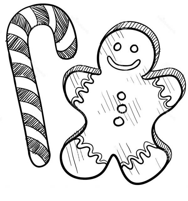Christmas, : Mr Gingerbread Men on Christmas and Candy Cane Coloring Page