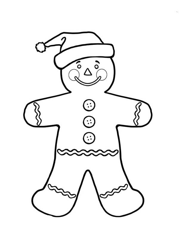 Christmas, : Mr Gingerbread Men on Christmas as Santa Claus Coloring Page