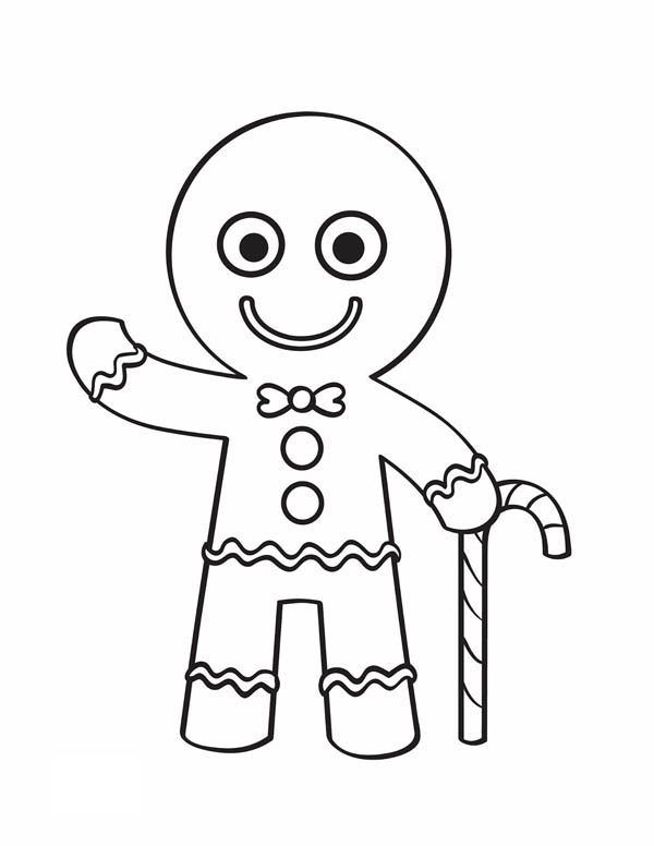 Christmas, : Mr Gingerbread Men with His Candy Cane say Hallo Coloring Page