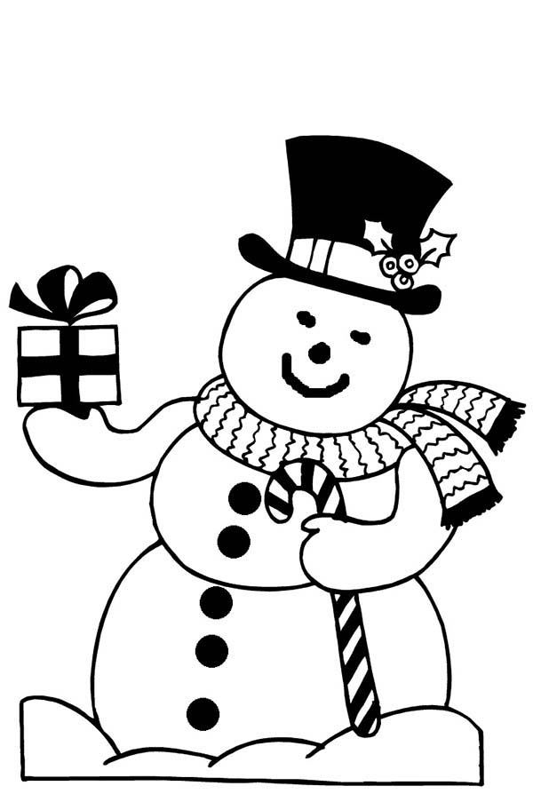 Christmas, : Mr Snowman on Christmas Bring You Present Coloring Page
