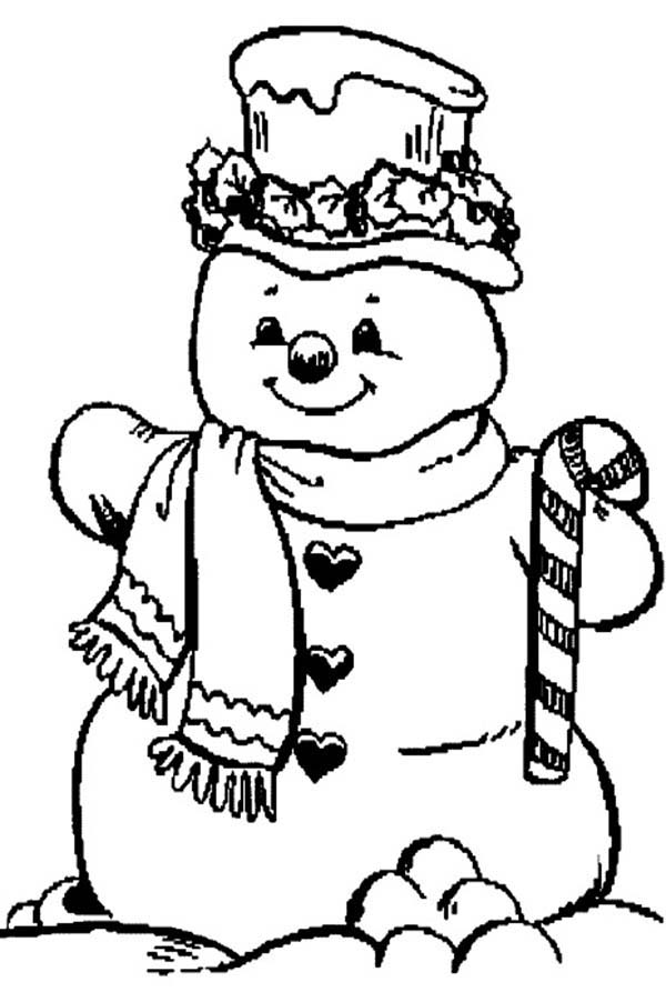 Christmas, : Mr Snowman on Christmas and Candy Cane Coloring Page
