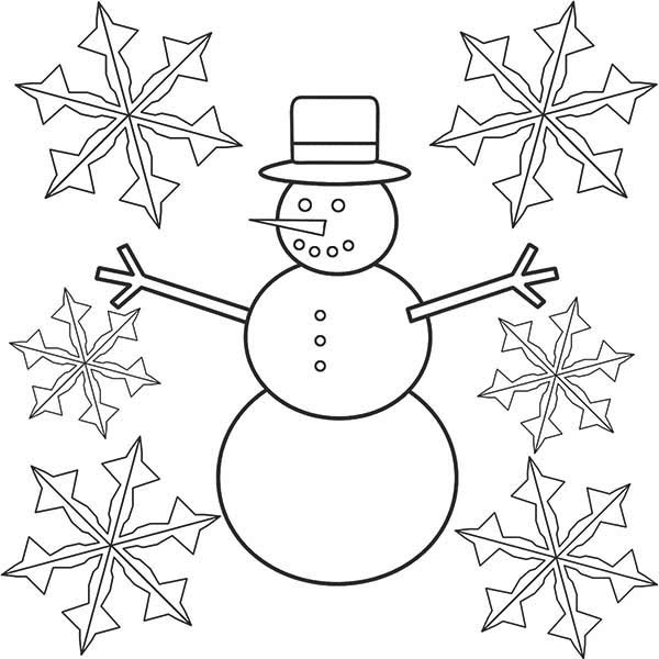 Christmas, : Mr Snowman on Christmas and Snowflakes Coloring Page