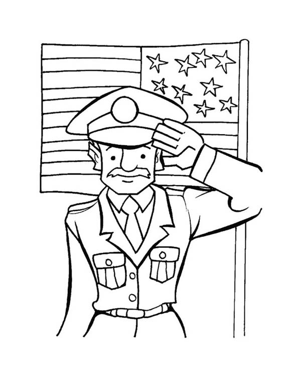 Veterans Day, : Old Veteran Giving Salute Celebrating Veterans Day Coloring Page