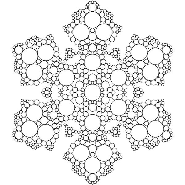 Christmas, : The Beauty of Christmas Snowflakes Coloring Page