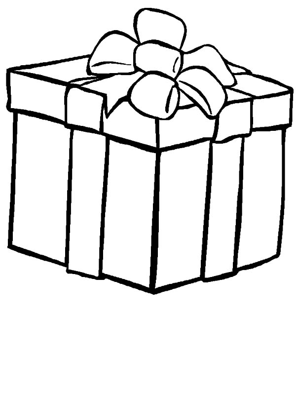Christmas Presents, : Bow Decoration on Top Christmas Presents Coloring Pages