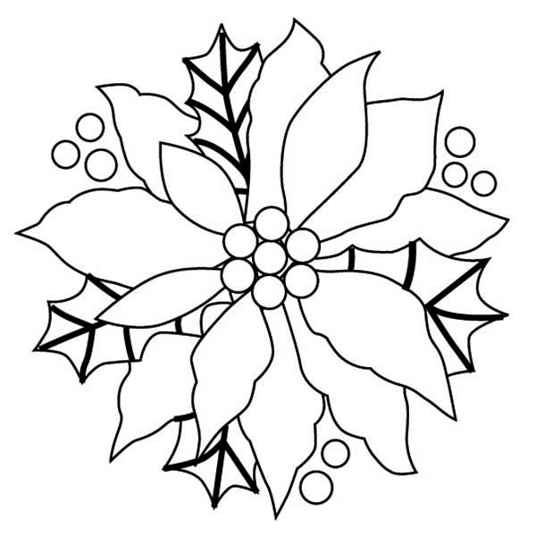 National Poinsettia Day, : Christmas Decor of Poinsettia for National Poinsettia Day Coloring Page