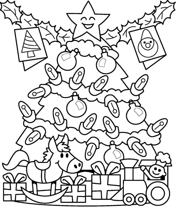 Christmas Presents, : Christmas Presents for Kids Under Christmas Tree Coloring Pages