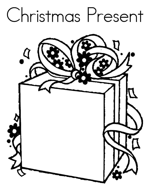 Christmas Presents, : Christmas Presents with Long Bow Ribbon Coloring Pages