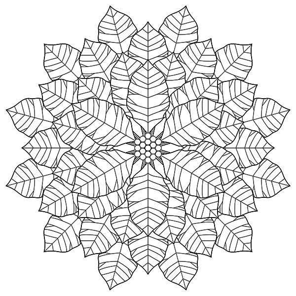 National Poinsettia Day, : Geometric Poinsettia Drawing for National Poinsettia Day Coloring Page