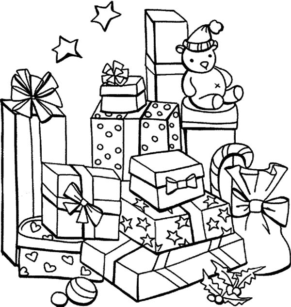 Christmas Presents, : Mountain of Christmas Presents Coloring Pages