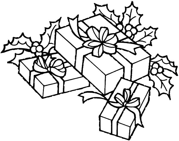Christmas Presents, : Put All Christmas Presents Under Christmas Tree Coloring Pages
