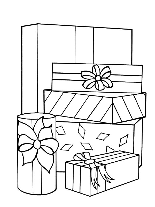 Christmas Presents, : Stack of Christmas Presents Coloring Pages
