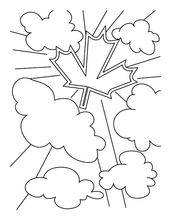 National Canada Day, : Canada Symbol on the Clouds in National Canada Day Coloring Pages