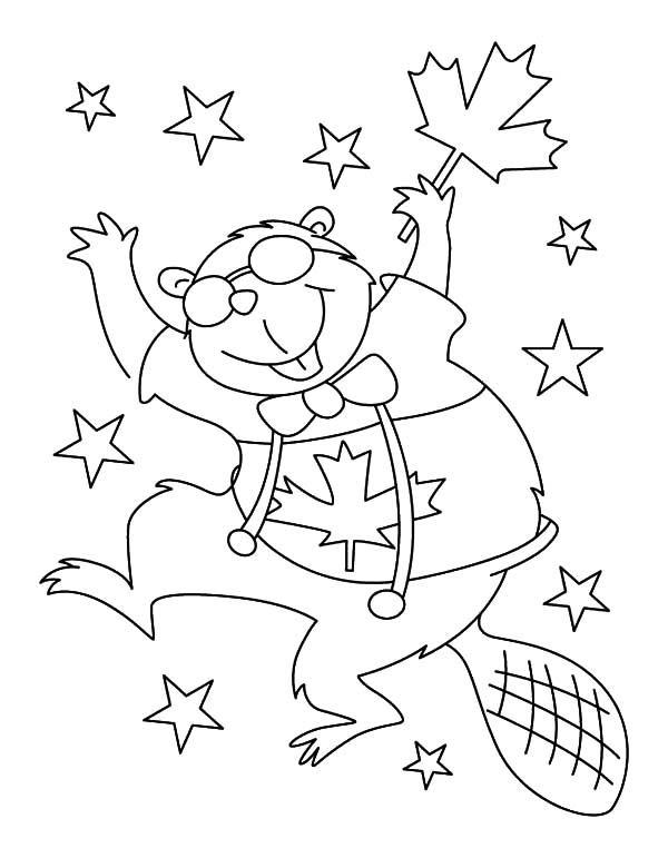National Canada Day, : Canadian Beaver Dance on National Canada Day Coloring Pages