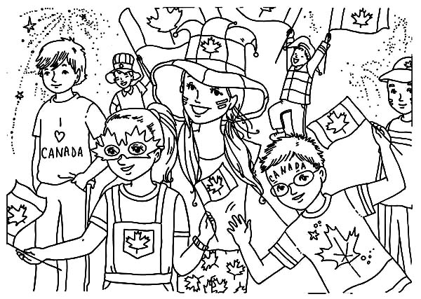National Canada Day, : Celebration on the Street on National Canada Day Coloring Pages