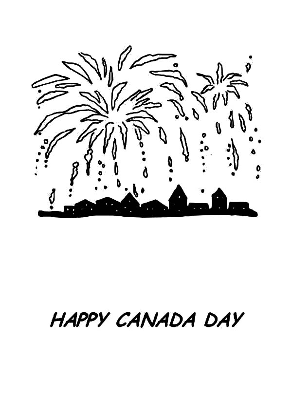 National Canada Day, : Fireworks on National Canada Day Coloring Pages