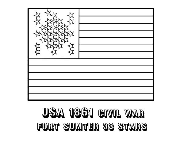 Independence Day, : Fort Sumter 33 Star Flag for Independence Day Coloring Pages