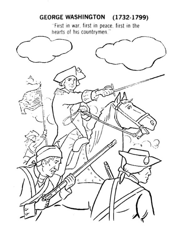 Independence Day, : George Washington Lead American for Independence Day Coloring Pages