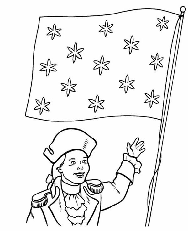 Independence Day, : Honoring Flag on Independence Day Coloring Page