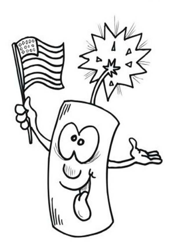 Ligh Firecrack On Independence Day Coloring Page : Kids Play Color