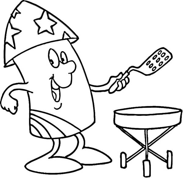 Independence Day, : Mr Firework Cooking for Independence Day Coloring Page