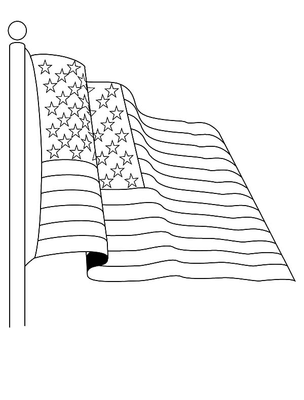 Independence Day, : Salute to American Flag on Independence Day Coloring Pages 2