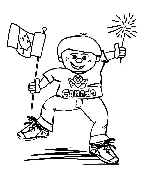 National Canada Day, : This Boy is Really Happy on National Canada Day Coloring Pages
