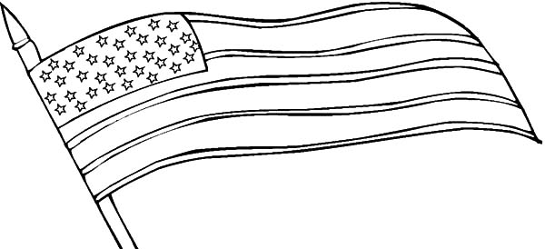 Independence Day, : Waving American Flag for Independence Day Coloring Pages