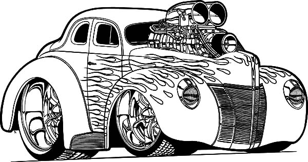 Hot Rod Cars, : 1936 Chevy Hot Rod Cars Coloring Pages