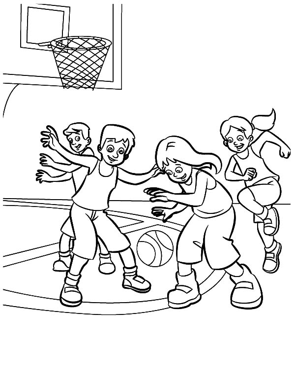 Exercise, : A Team Basketball Exercise Coloring Pages