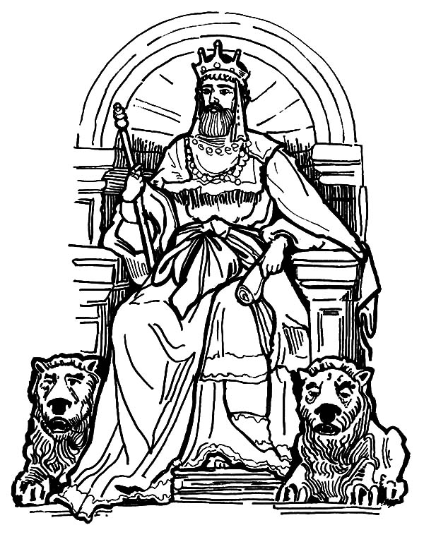 King, : Amazing King Throne with Lion Statue Coloring Pages